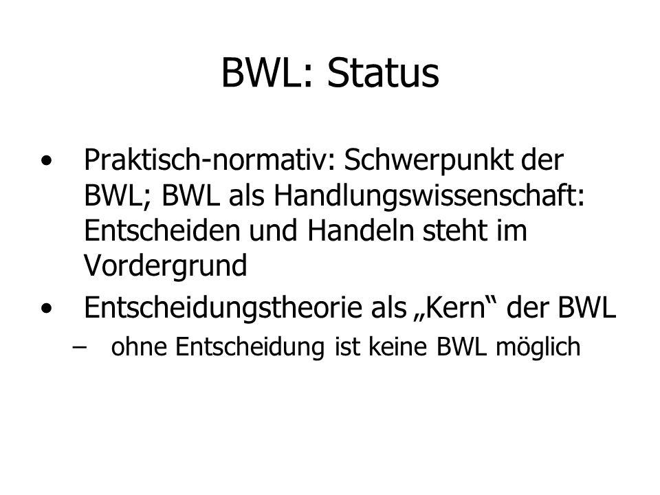 BWL: Status Praktisch-normativ: Schwerpunkt der BWL; BWL als Handlungswissenschaft: Entscheiden und Handeln steht im Vordergrund.