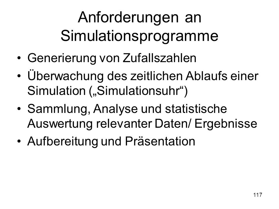 Anforderungen an Simulationsprogramme