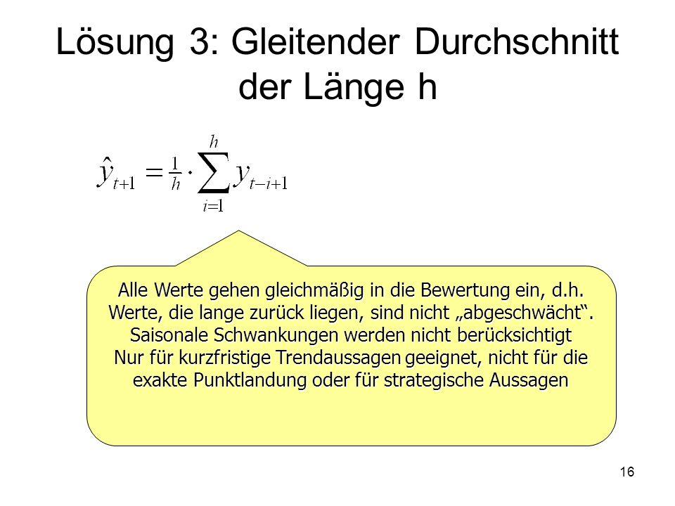 Lösung 3: Gleitender Durchschnitt der Länge h