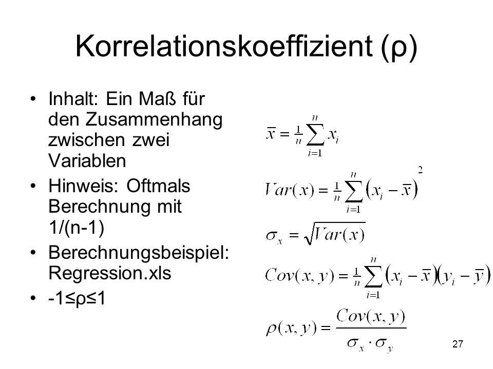 Korrelationskoeffizient (ρ)