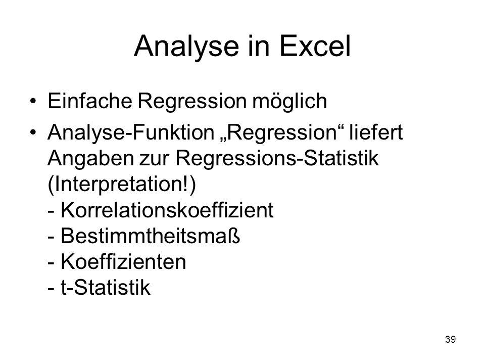 Analyse in Excel Einfache Regression möglich