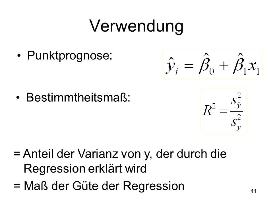Verwendung Punktprognose: Bestimmtheitsmaß: