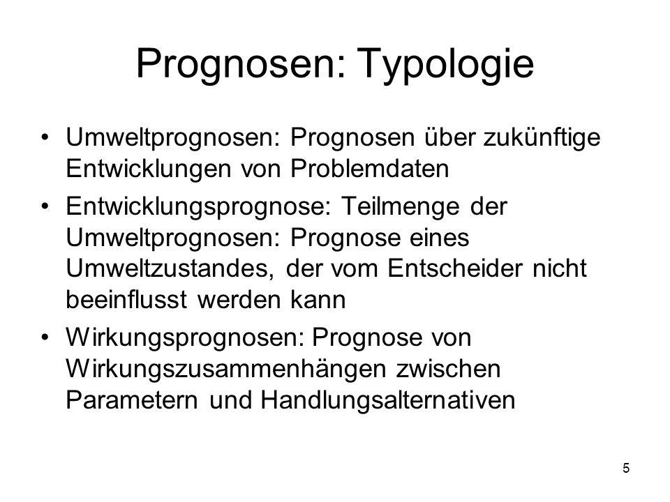 Prognosen: Typologie Umweltprognosen: Prognosen über zukünftige Entwicklungen von Problemdaten.