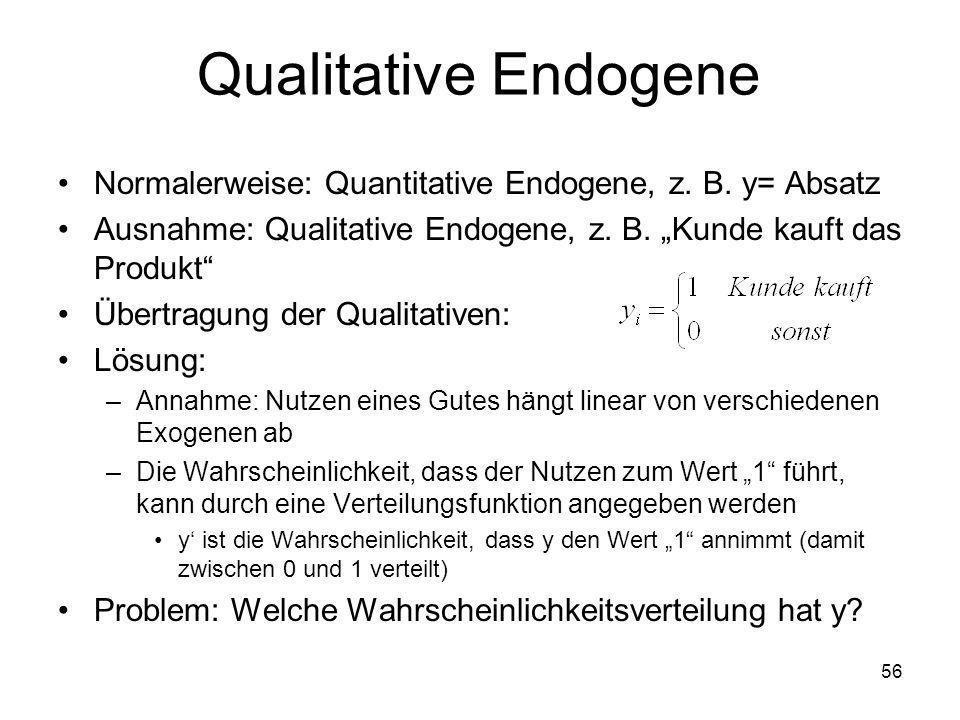 """Qualitative Endogene Normalerweise: Quantitative Endogene, z. B. y= Absatz. Ausnahme: Qualitative Endogene, z. B. """"Kunde kauft das Produkt"""