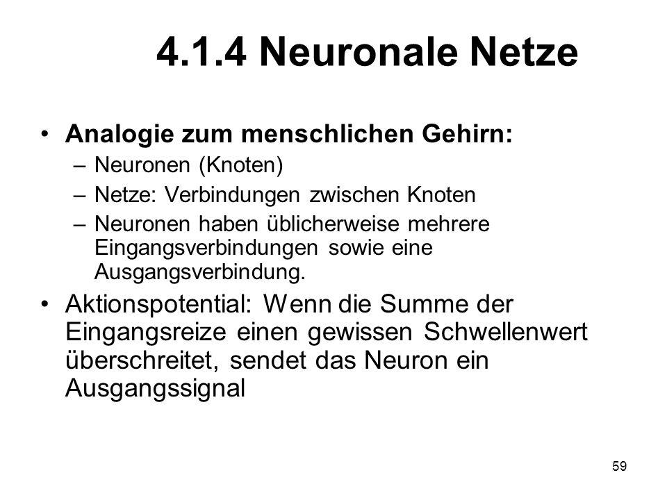 4.1.4 Neuronale Netze Analogie zum menschlichen Gehirn: