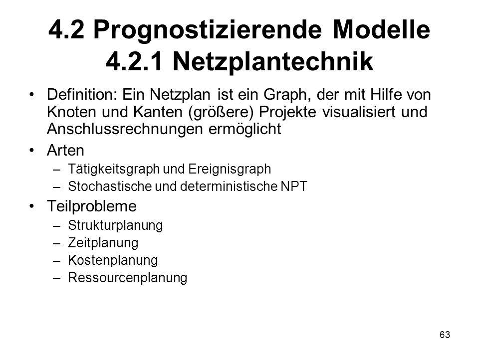 4.2 Prognostizierende Modelle 4.2.1 Netzplantechnik