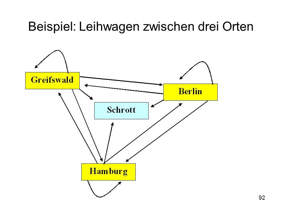 Beispiel: Leihwagen zwischen drei Orten