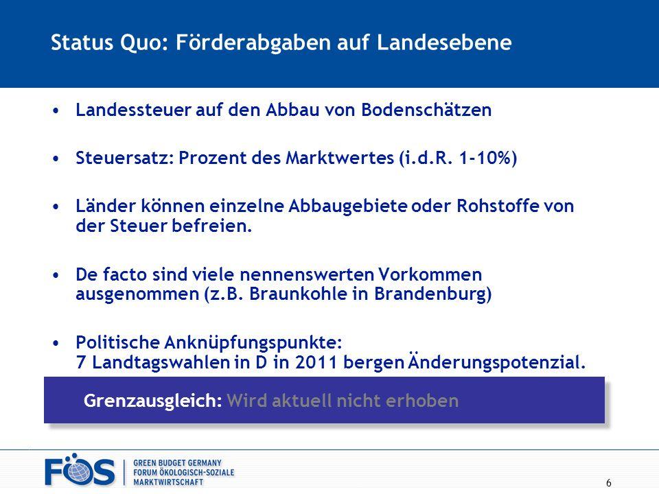 Status Quo: Förderabgaben auf Landesebene