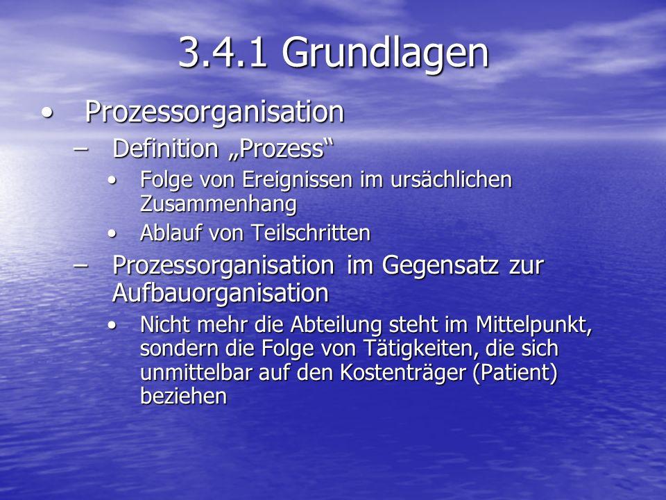 """3.4.1 Grundlagen Prozessorganisation Definition """"Prozess"""