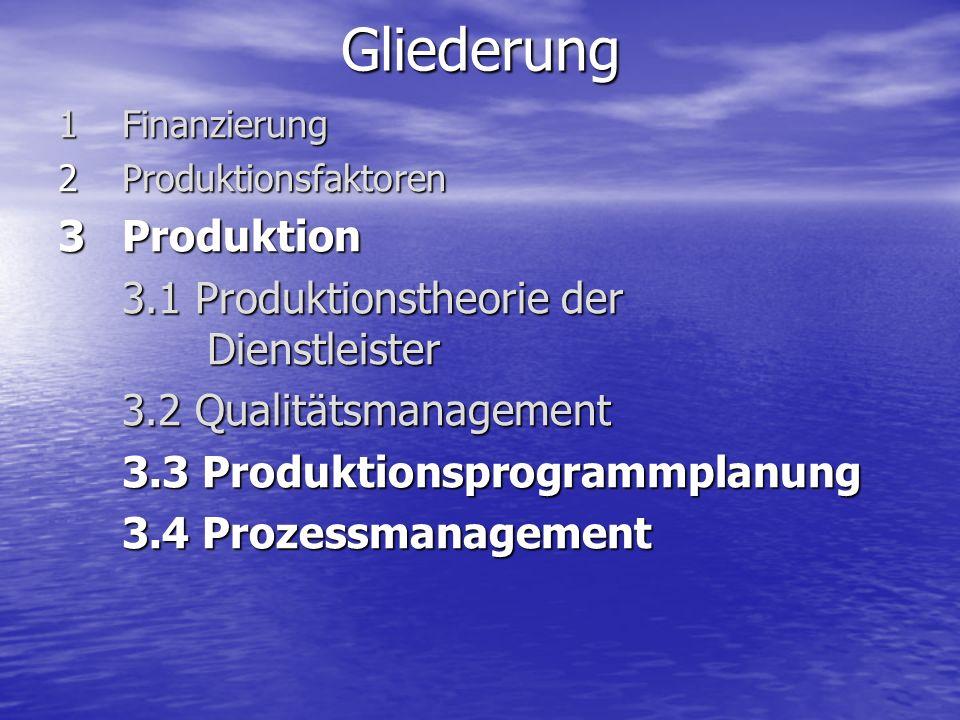 Gliederung Produktion 3.1 Produktionstheorie der Dienstleister