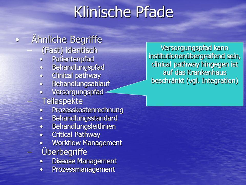 Klinische Pfade Ähnliche Begriffe (Fast) identisch Teilaspekte