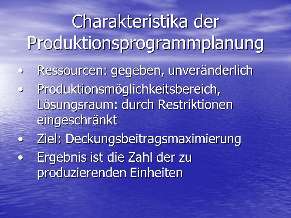 Charakteristika der Produktionsprogrammplanung