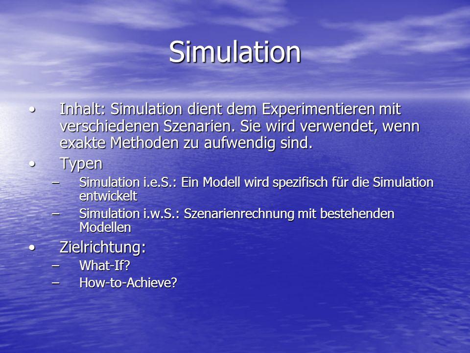 Simulation Inhalt: Simulation dient dem Experimentieren mit verschiedenen Szenarien. Sie wird verwendet, wenn exakte Methoden zu aufwendig sind.