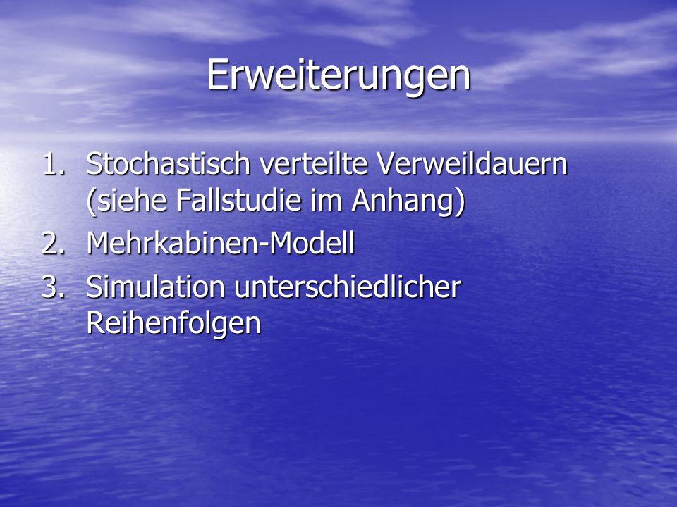 Erweiterungen Stochastisch verteilte Verweildauern (siehe Fallstudie im Anhang) Mehrkabinen-Modell.