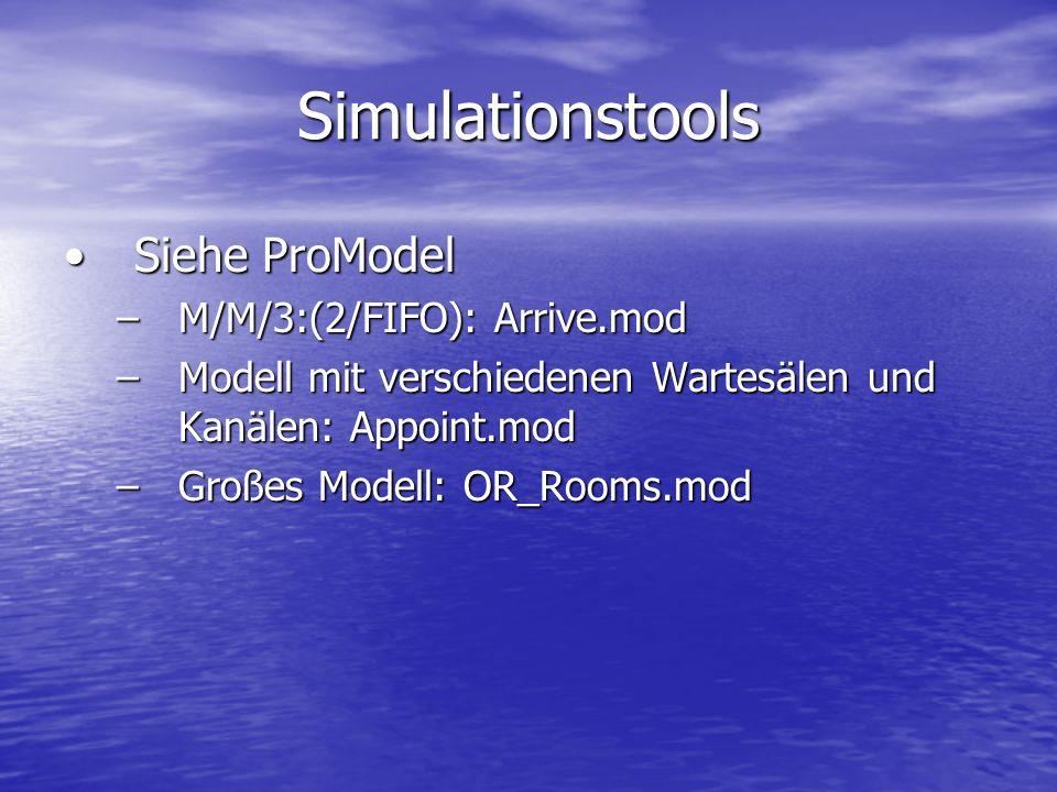 Simulationstools Siehe ProModel M/M/3:(2/FIFO): Arrive.mod