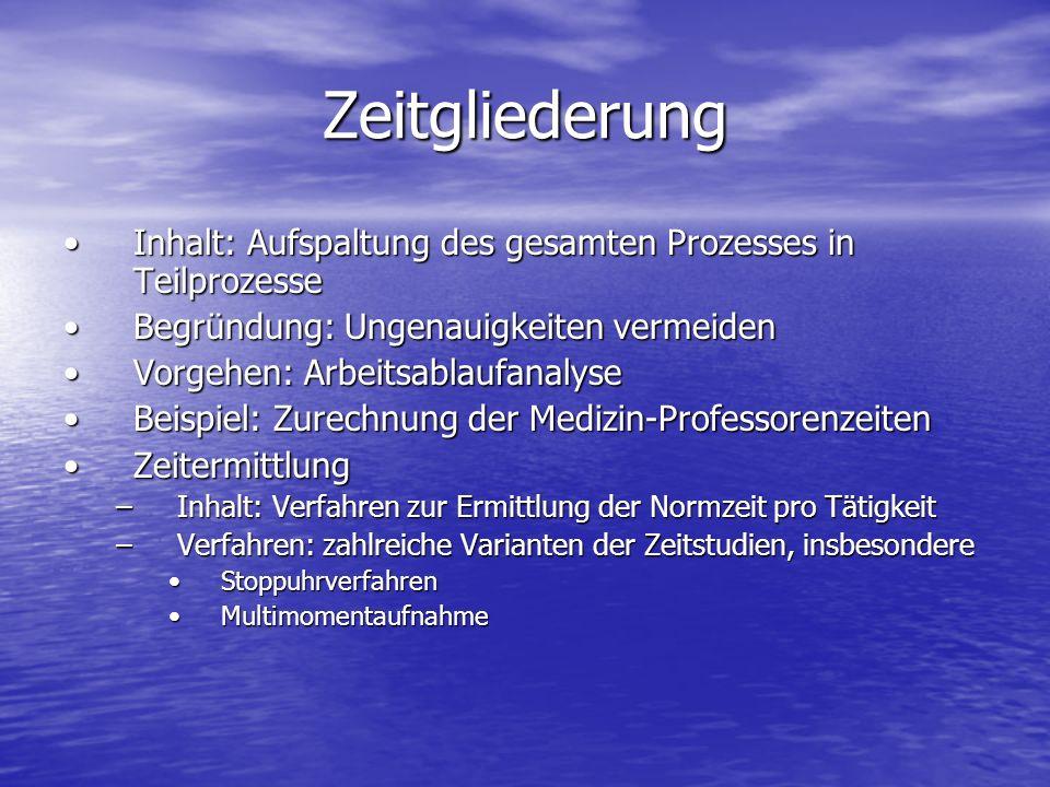 Zeitgliederung Inhalt: Aufspaltung des gesamten Prozesses in Teilprozesse. Begründung: Ungenauigkeiten vermeiden.