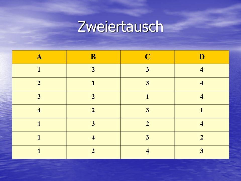 Zweiertausch A B C D 1 2 3 4