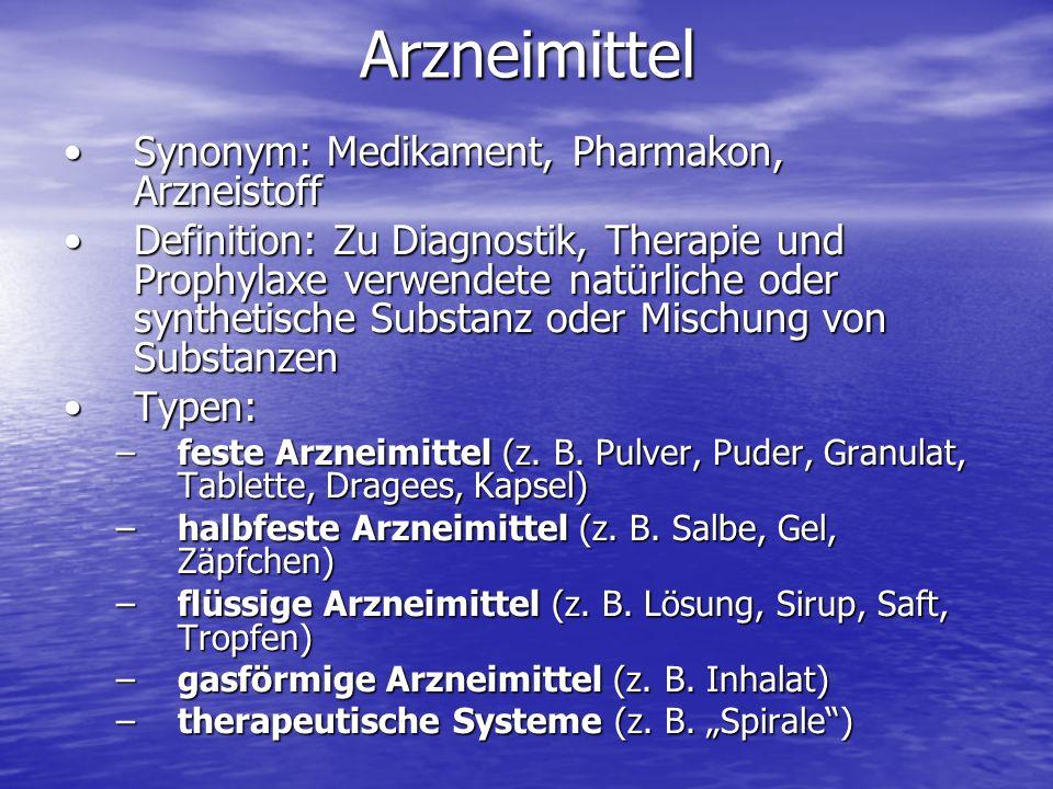 Arzneimittel Synonym: Medikament, Pharmakon, Arzneistoff