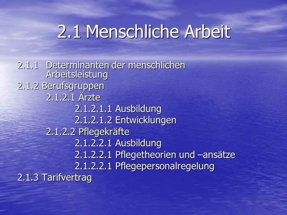 2.1 Menschliche Arbeit 2.1.1 Determinanten der menschlichen Arbeitsleistung. 2.1.2 Berufsgruppen.