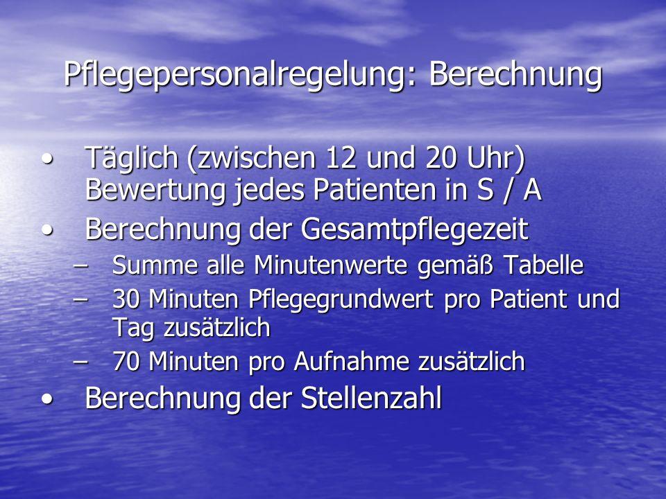 Pflegepersonalregelung: Berechnung