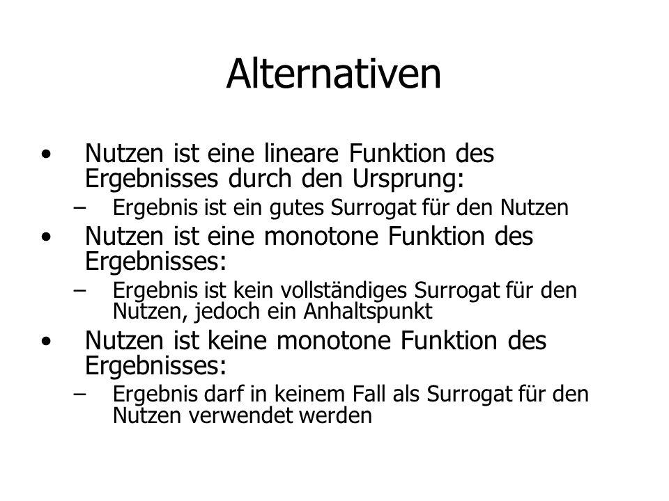 Alternativen Nutzen ist eine lineare Funktion des Ergebnisses durch den Ursprung: Ergebnis ist ein gutes Surrogat für den Nutzen.