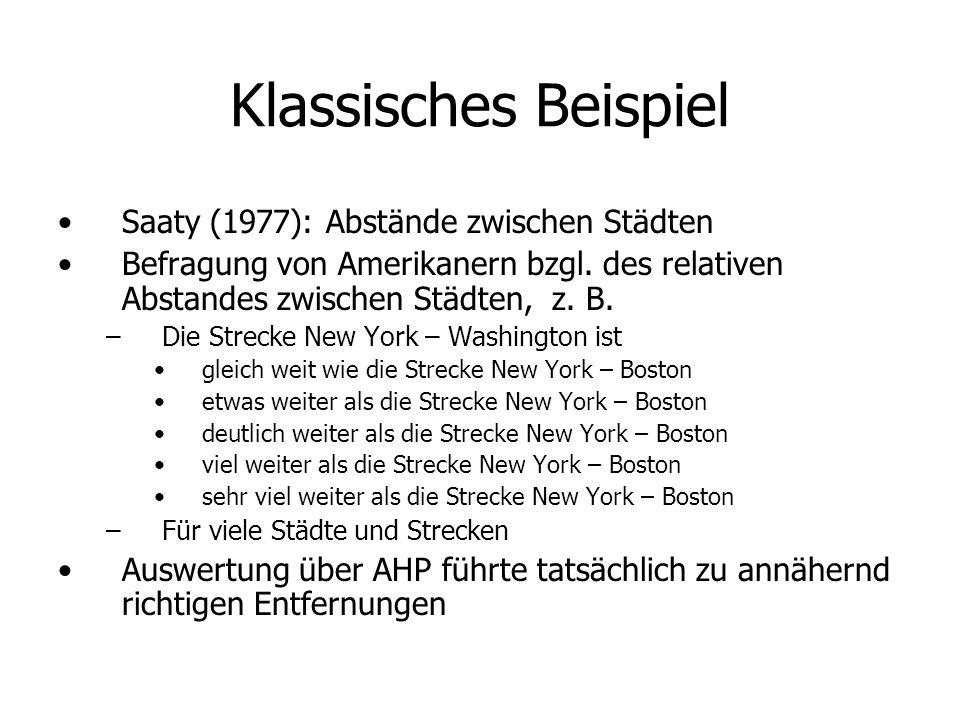 Klassisches Beispiel Saaty (1977): Abstände zwischen Städten