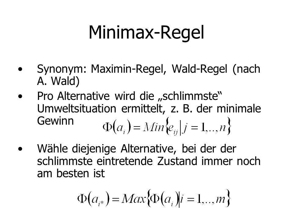 Minimax-Regel Synonym: Maximin-Regel, Wald-Regel (nach A. Wald)