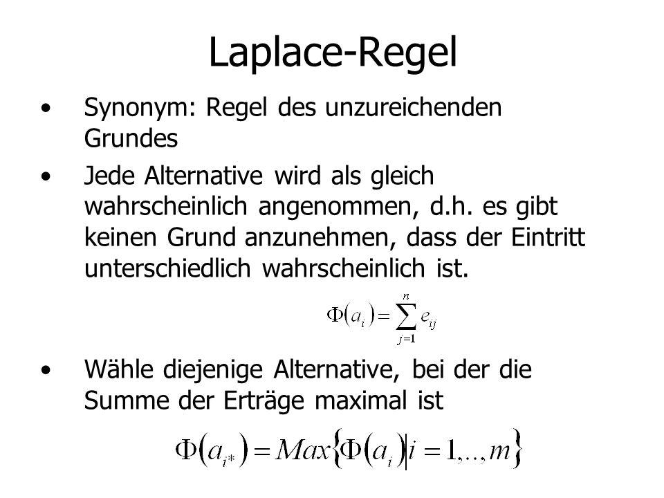 Laplace-Regel Synonym: Regel des unzureichenden Grundes