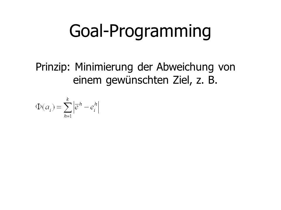 Goal-Programming Prinzip: Minimierung der Abweichung von einem gewünschten Ziel, z. B.