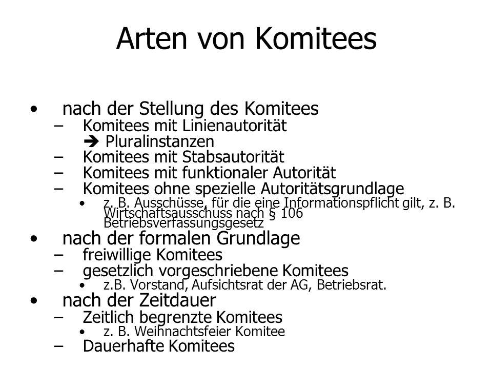 Arten von Komitees nach der Stellung des Komitees