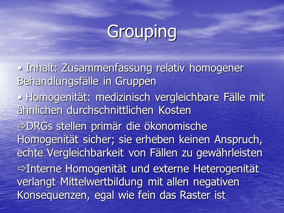 Grouping Inhalt: Zusammenfassung relativ homogener Behandlungsfälle in Gruppen.