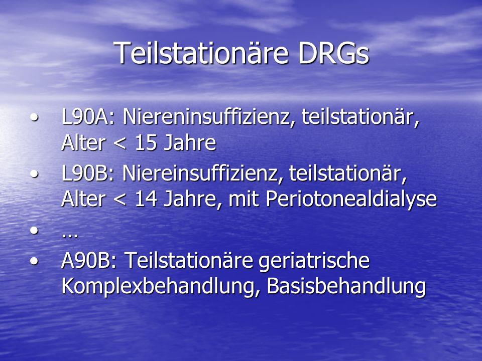 Teilstationäre DRGs L90A: Niereninsuffizienz, teilstationär, Alter < 15 Jahre.
