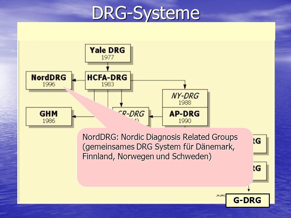 DRG-Systeme NordDRG: Nordic Diagnosis Related Groups (gemeinsames DRG System für Dänemark, Finnland, Norwegen und Schweden)