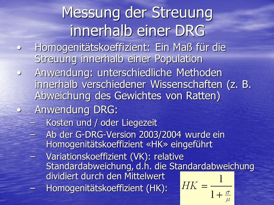 Messung der Streuung innerhalb einer DRG