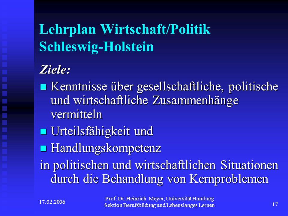 Lehrplan Wirtschaft/Politik Schleswig-Holstein