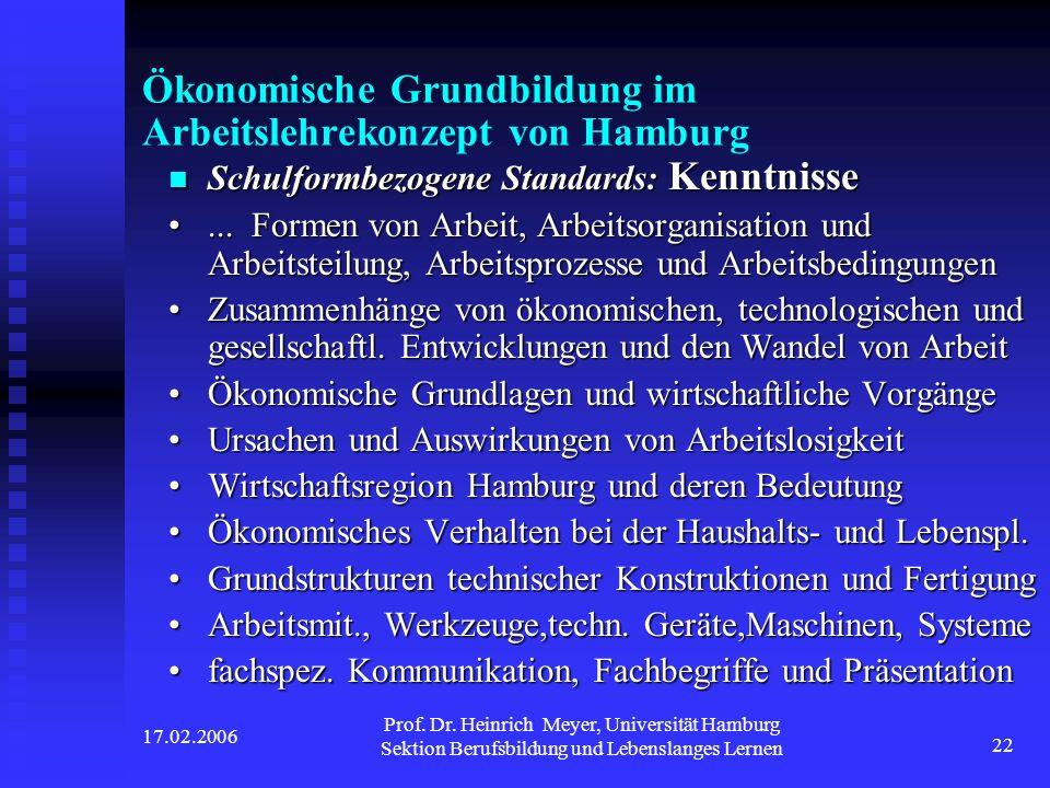 Ökonomische Grundbildung im Arbeitslehrekonzept von Hamburg