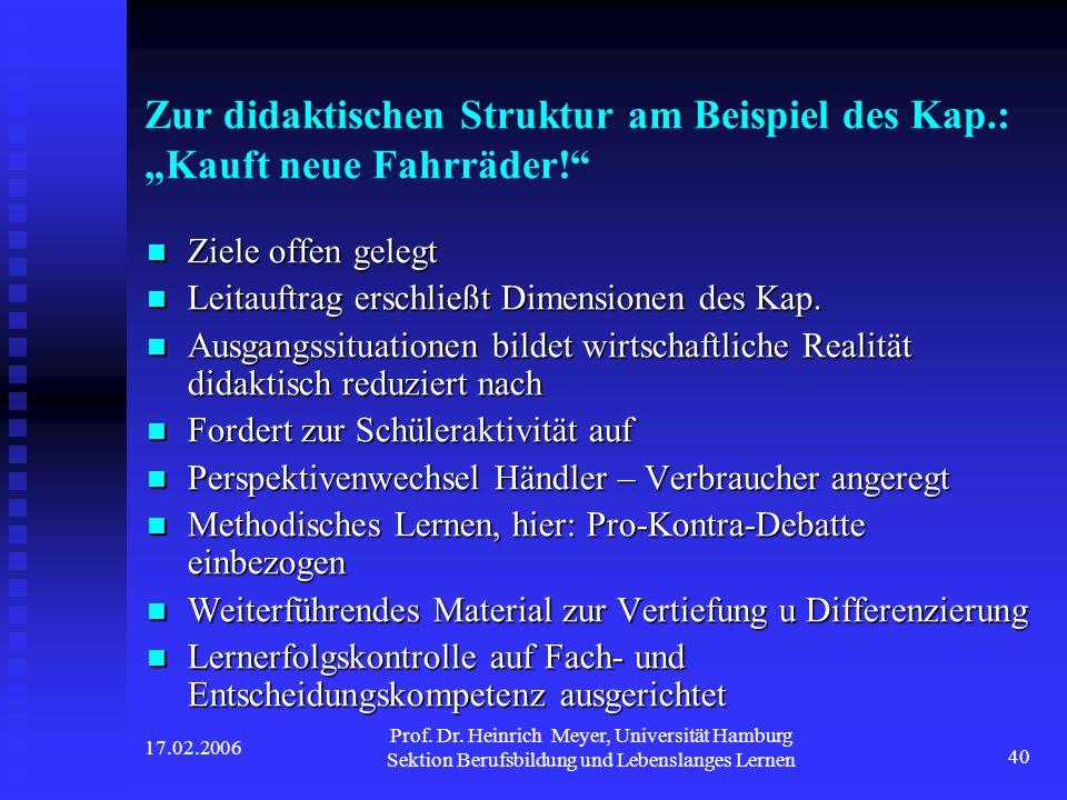 """Zur didaktischen Struktur am Beispiel des Kap. : """"Kauft neue Fahrräder"""