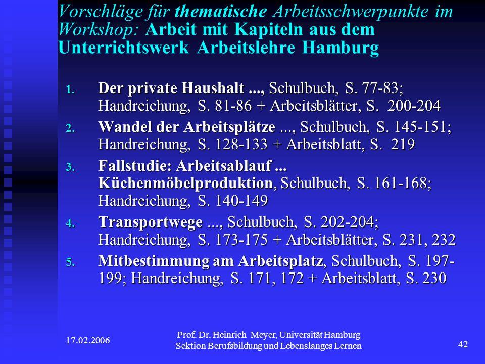 Vorschläge für thematische Arbeitsschwerpunkte im Workshop: Arbeit mit Kapiteln aus dem Unterrichtswerk Arbeitslehre Hamburg