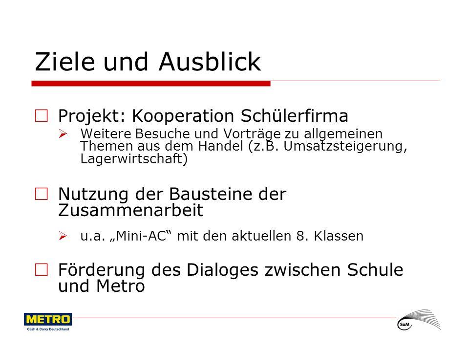 Ziele und Ausblick Projekt: Kooperation Schülerfirma