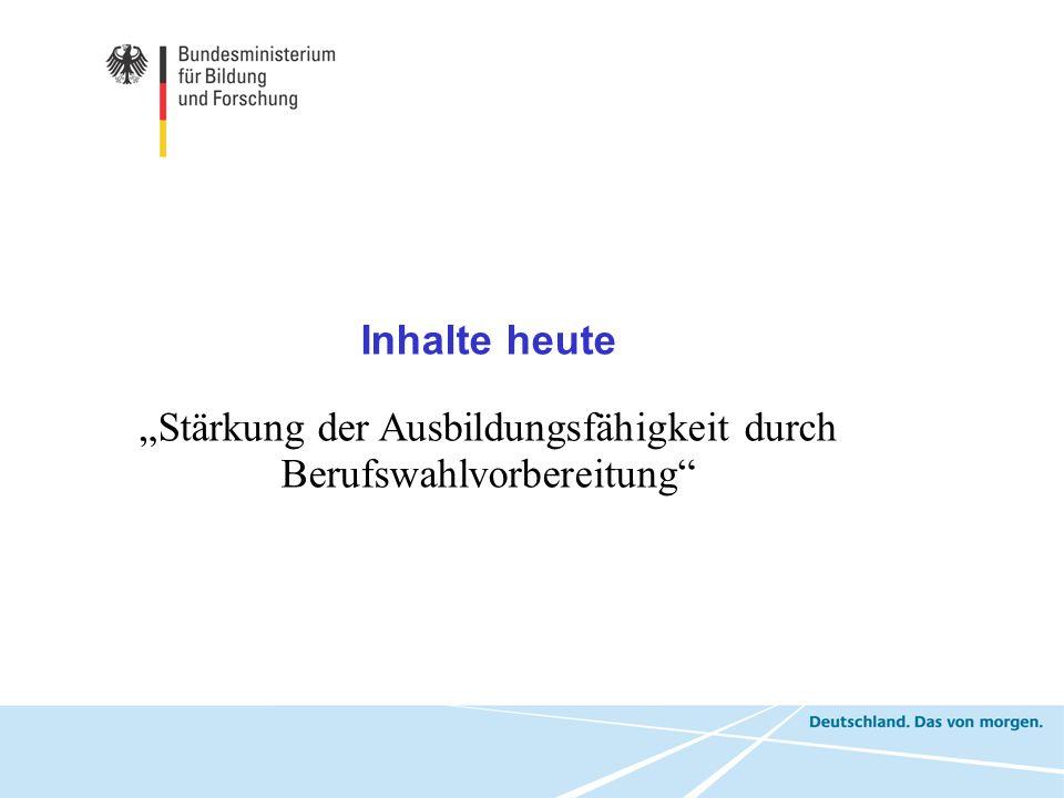 """""""Stärkung der Ausbildungsfähigkeit durch Berufswahlvorbereitung"""