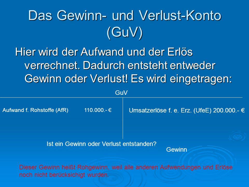 Das Gewinn- und Verlust-Konto (GuV)