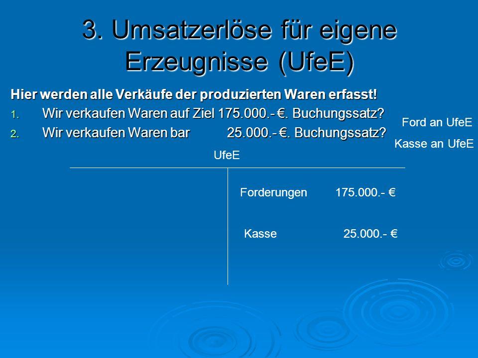 3. Umsatzerlöse für eigene Erzeugnisse (UfeE)
