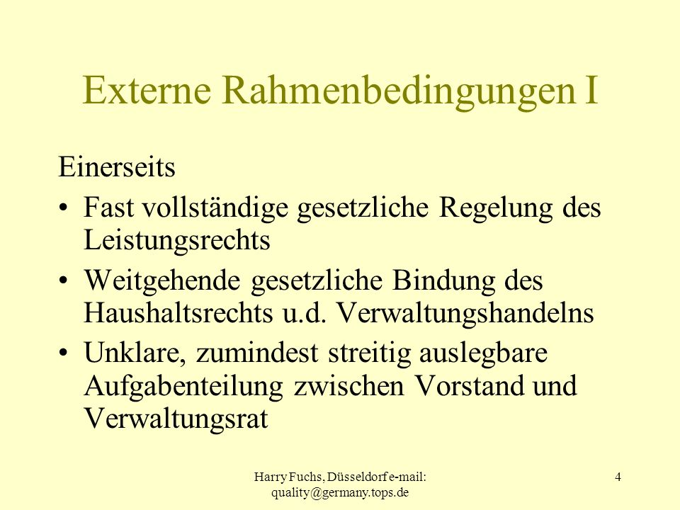 Externe Rahmenbedingungen I