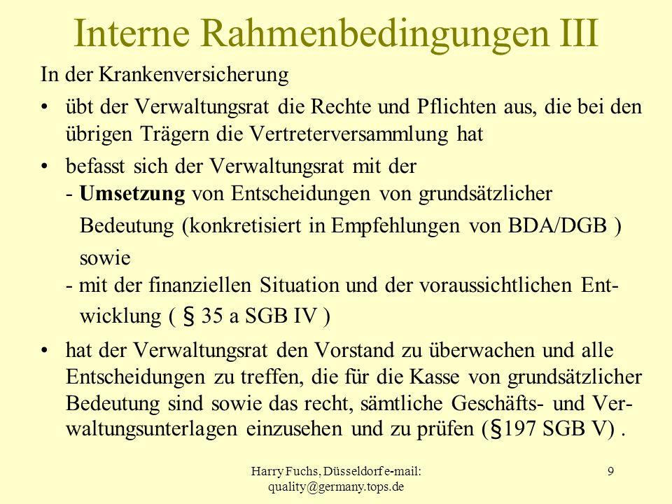 Interne Rahmenbedingungen III
