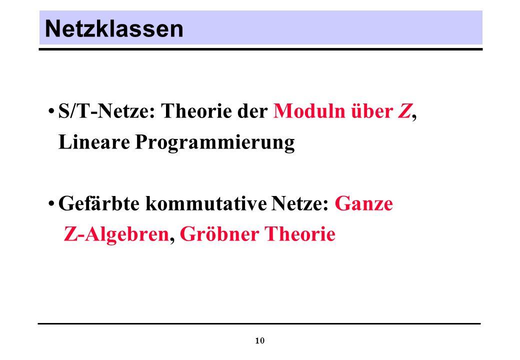Netzklassen S/T-Netze: Theorie der Moduln über Z,