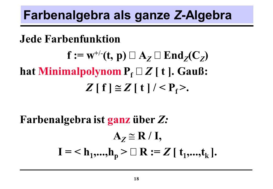 Farbenalgebra als ganze Z-Algebra