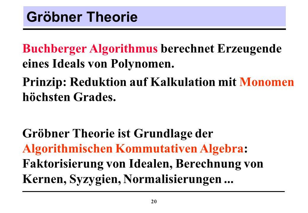 Gröbner Theorie Buchberger Algorithmus berechnet Erzeugende eines Ideals von Polynomen.