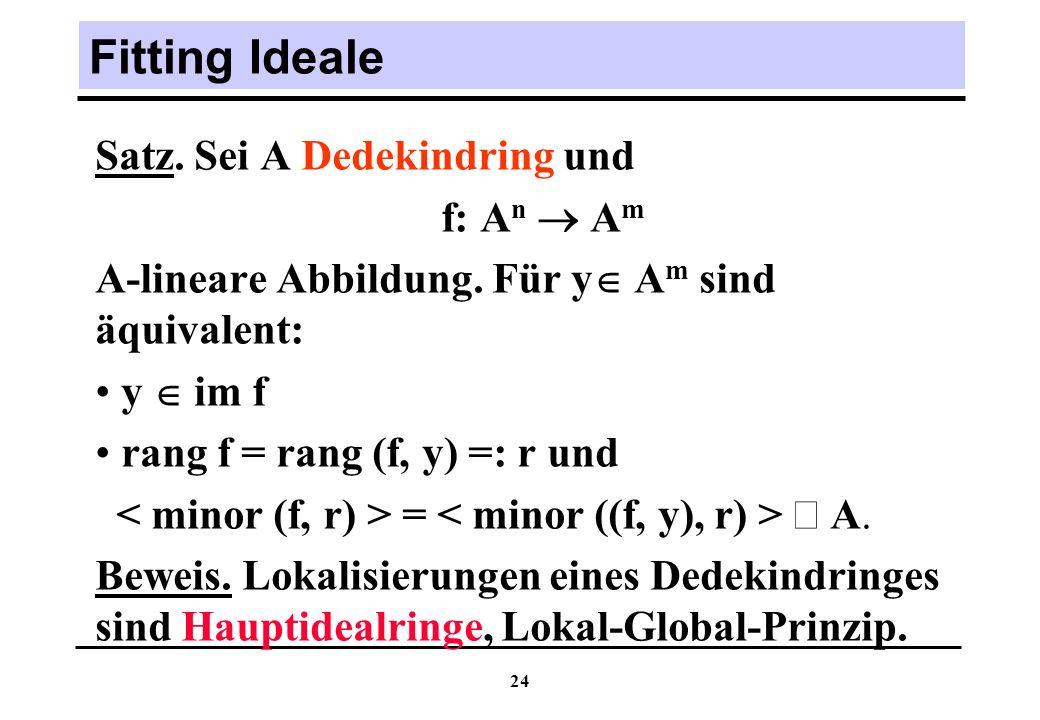 Fitting Ideale Satz. Sei A Dedekindring und f: An  Am