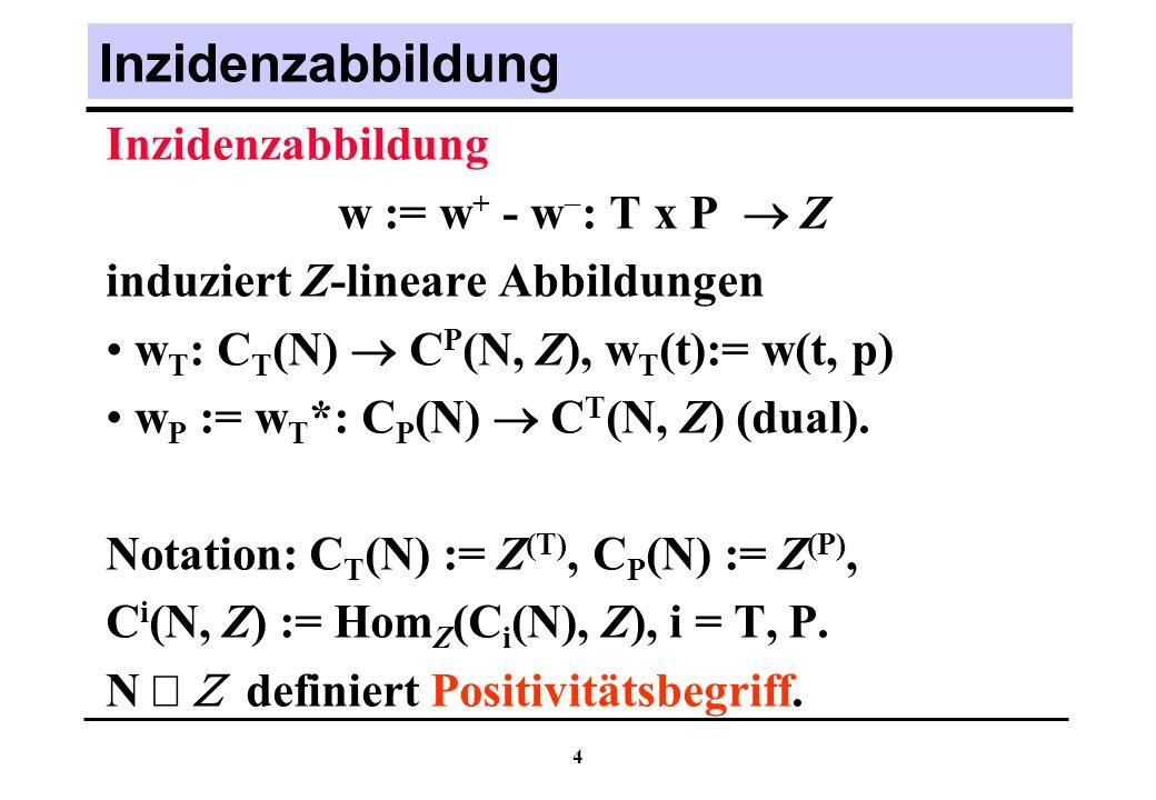 Inzidenzabbildung Inzidenzabbildung w := w+ - w: T x P  Z