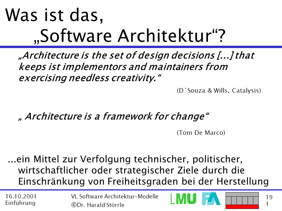 "Was ist das, ""Software Architektur"